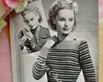 """Vintage 40s Knitting Pattern Lady's Striped Jumper & Gloves. To Fit A 34-36"""" Bust."""