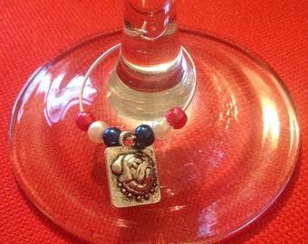 British Bull Dog Wine Glass Charm
