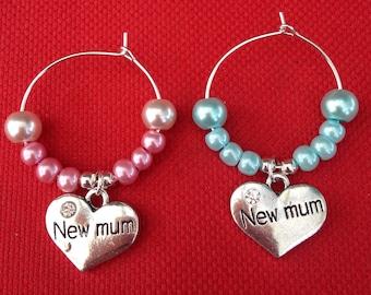 New Mum Wine Glass Charm