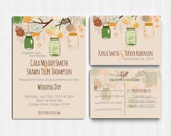 Autumn Wedding Invitation, Mason jars, Autumn Colors, wedding invite, Printed Wedding Invitation, rustic wedding, green brown wedding invite