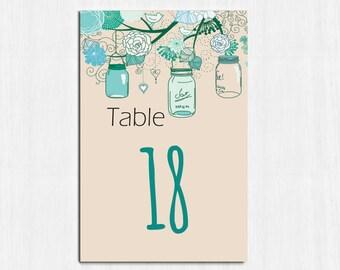 Table Numbers, Teal Mason jar, mint table numbers, Printable table cards, wedding, Digital file, wedding table number, rustic, TealJar Set