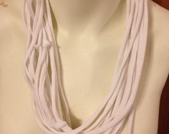 Infinity scarf, repurposed tshirt cowl scarf White