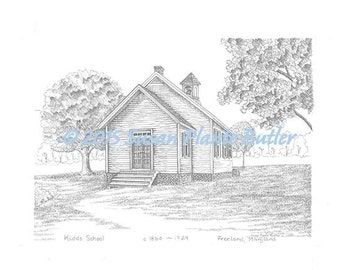 Kidds Schoolhouse 1860, Freeland, Maryland, 11 x 14, signed, b /w pen & ink print