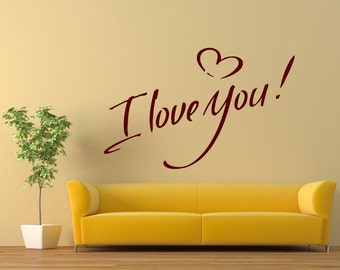 Wall Vinyl Sticker Decals Mural Room Design Heart I Love You Romantic bo034