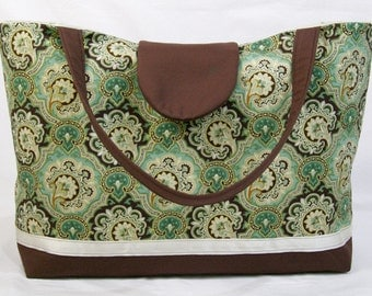 CLEARANCE Extra Large Tote, Overnight Bag, Carryall in a Teal Green Medallion Cotton Fabric