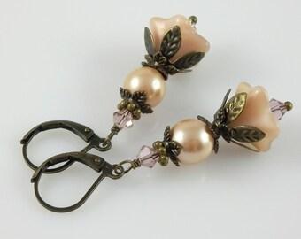 Vintage Style Bronze Pink Cream Flower Czech Glass & Swarovski Crystal Earrings