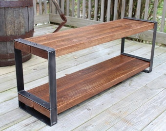 Reclaimed wood bench, Entertainment center,Console,Industrial bench,Urban,Barn wood,Furniture,Flat steel legs, Bench