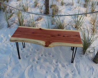 Live Edge Bench, Bench, Coffee table, Hairpin legs, Industrial bench, Urban, Modern, Contemporary