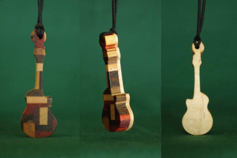 guitar jewelry wood guitar pendant electric guitar necklace