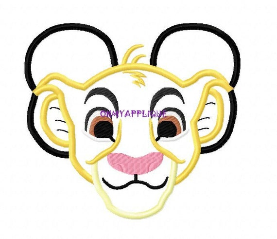 Character Applique Design : Character baby lion embroidery applique design