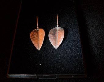 Handmade fold formed fine silver (999) Leaf earings (hooks)