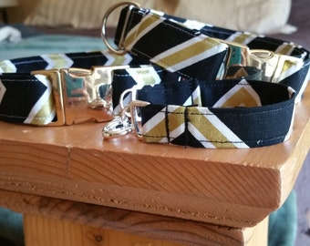 The Furendship Collar - Black and Gold, Dog/ Cat Collar with Matching Owner Bracelet, Black and Gold Friendship Set