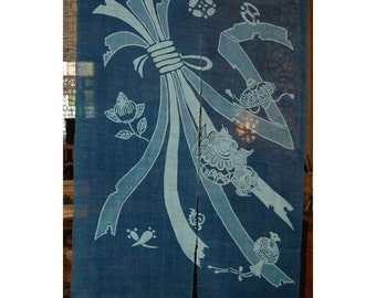 "traditional linen noren, door way curtain. japanese sash on blue (WE11-32) 35""W x 59""L"