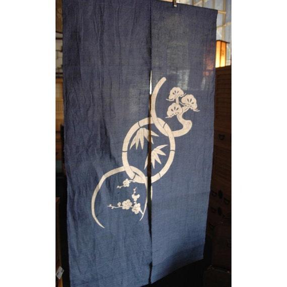 Traditional Linen Noren Door Way Curtain Sho Chiku Bai On