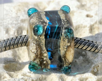 blue cave, Cube Collection Original Nemo Glass Bead, SRA, 12 x 13 mm OOAK