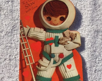 Vintage Astronaut Valentine's Day Card For Your Son