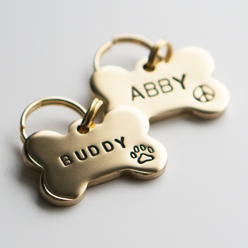 Dog Tag Pet Id Tag Bone Shaped Tag Brass Customized