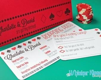 Boarding Pass Wedding Invitation, Vegas wedding invitation, Travel Themed Invite, Destination Wedding Invitation Ticket and RSVP - DEPOSIT