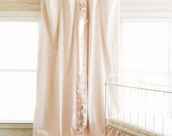 Baby Pink Washed Cotton Ruffled Drapery Panels Upgraded with Blackout Lining