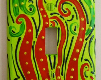 Fern Fronds single light switchplate