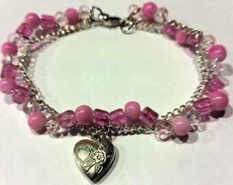 This Love Tickles Me Pink Bead and Chain Bracelet with Mini Locket Charm