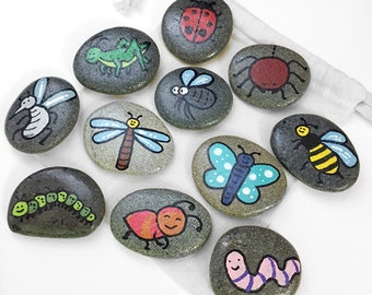 Bugs, Insects, and Creepy Crawlies Themed Story Stones / Storytelling Game / Waldorf Toy
