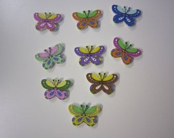 Small butterfly wooden buttons