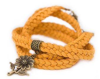 Yellow summer bracelet Women wrap bracelet Yellow braided bracelet Yellow ecosuede Wrap bracelet Handmade jewelry Gift for her Gift under 20