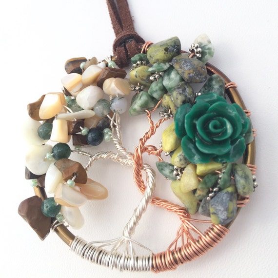 celtic gemstone tree of necklace celtic jewelry by