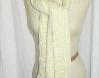 Vintage Handmade Knit Scarf & Hat Cream/Ivory Never Worn