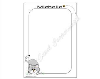 Kitten & Bee Notepad. Personalized - FREE Shipping When You Order Any 4 or More Notepads!