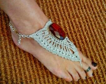 Boho Barefoot Sandals/Crochet Barefoot Lace Sandals with amber/Beach Wedding/Bohemian Jewelry