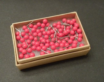 Map Push Pins Red Round Heads Pack of 100
