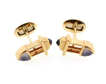 14K Yellow Gold, Iolite & Chalcedony Cufflinks