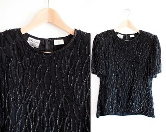 80s Stenay Black Sequined Shirt Top Vintage Small Sz 6 Fancy Flashy Party
