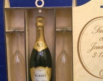 Personalized Single Bottle Champagne box-2 - 8 oz. Engraved Champagne Flutes-Wooden Champagne Box-Gift Box-Champagne Box-Toasting Glasses