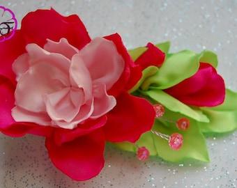 Kanzashi flowers ,pink / fusha  flowers ,hair accessory , Alligator clip