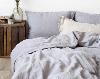 Light Grey Stone Washed Linen Duvet Cover