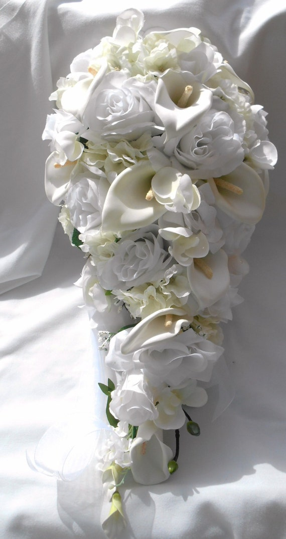 Silk cascade wedding set white , ivory, calla , roses and orchids 17 piece
