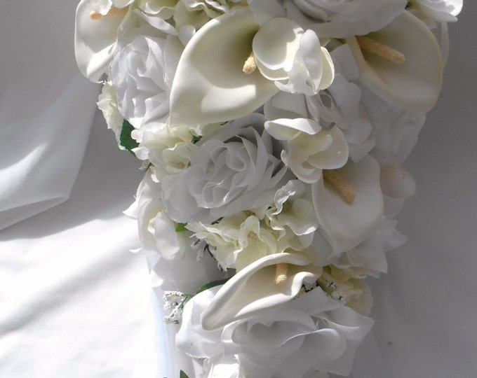 White and ivory cascading bouquet calla , hydrangeas and roses traditional bridal bouquet   2pc