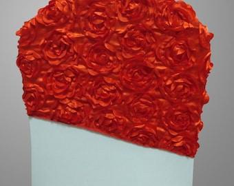 New Rosette/Roses Satin Chair Hood/Cap/Sash