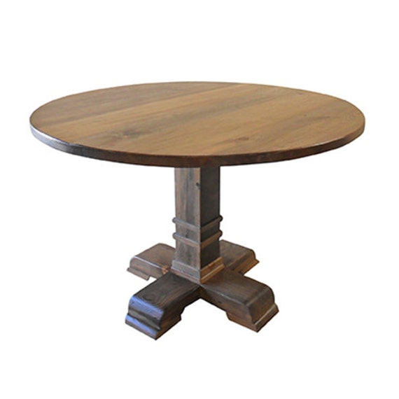 Round table reclaimed wood dining table vintage rustic for Reclaimed wood round dining table