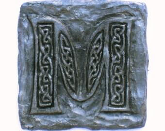 Celtic Knotwork Letter M, stone finish, tiles, hand-painted, custom names, initials, monograms, wall art, rustic, Scottish, Irish, sculpture