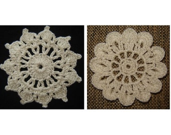 CROCHET PATTERN PDF Instant Download - Crochet Flower Applique Set of 2 - Home Decor - Holiday Decoration