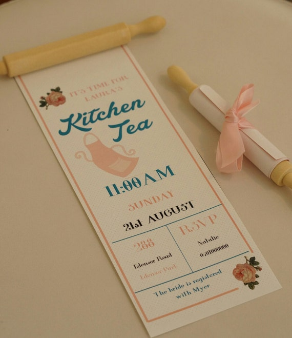 35 kitchen tea invitation rolling pin bridal by for Bridal shower kitchen tea ideas