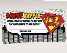 Instant Download - Superhero Baby Shower Diaper Raffle Card - Superheroes Game Card