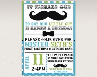 Little Man Mustache Bash Birthday Party printable invitation - Green and Blue Little Man Invitation