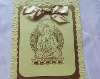 """Buddha """"awakened one"""" meditation note card"""