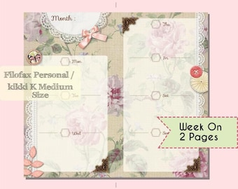 Printable Week on 2 Pages Planner for Filofax Personal or Kikki K Medium Pretty Shabby Chic