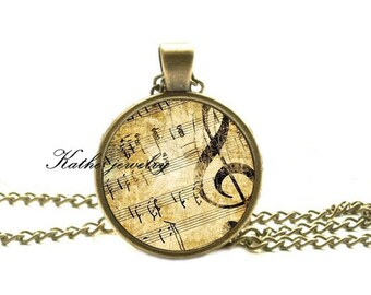 G-Clef Necklace, Music Note Charm, G-Clef Jewelry, Musical Pendant